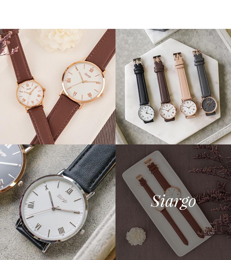 시아르고(SIARGO) SG-007M-RBR 로즈마리컬렉션 남자 가죽 손목 시계